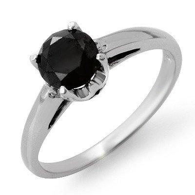 Natural 1.0 ctw Black Diamond Ring 14K White Gold