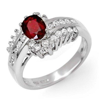Genuine 1.6 ctw Ruby & Diamond Ring 14k Gold
