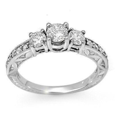 Natural 0.95 ctw Diamond Ring 10K White Gold