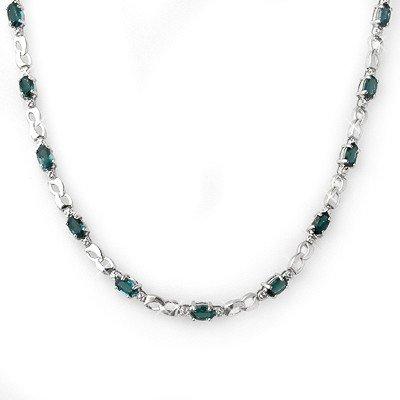 Genuine 9.02 ctw Blue Sapphire & Diamond Necklace Gold