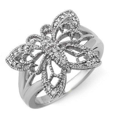 Natural 0.25 ctw Diamond Ring 10K White Gold