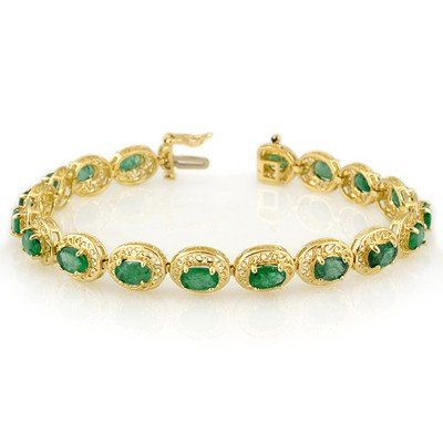 Genuine 10.0 ctw Emerald Bracelet 10K Yellow Gold
