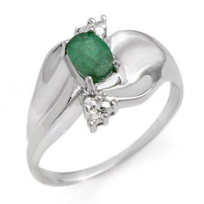 Genuine 0.39 ctw Emerald & Diamond Ring 10K White Gold