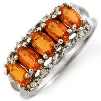 Genuine 1.80 ctw Orange Sapphire & Diamond Ring Gold