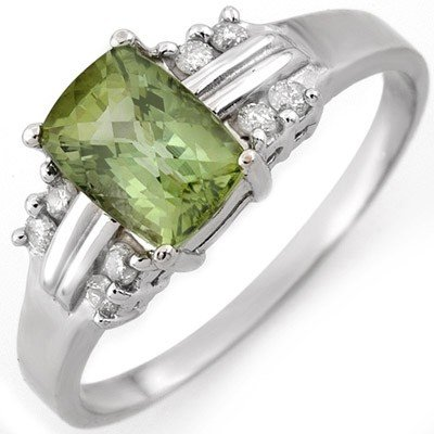 Genuine 1.41ct Green Tourmaline & Diamond Ring 10K Gold