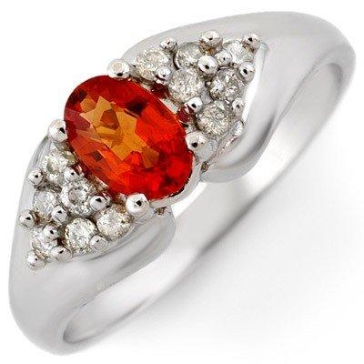 Genuine 0.90 ctw Orange Sapphire & Diamond Ring Gold