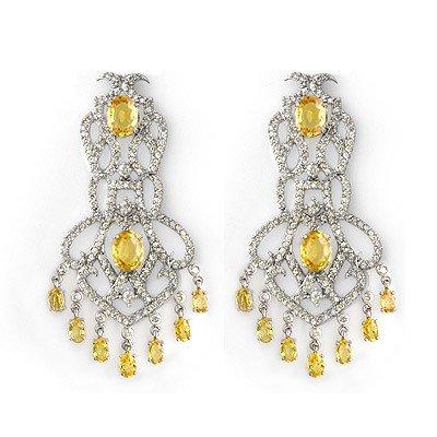 Genuine 17.3 ctw Yellow Sapphire & Diamond Earrings Gol