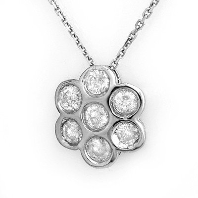 Natural 0.90 ctw Diamond Necklace 14K White Gold