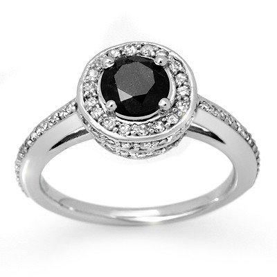 Natural 1.75 ctw Black Diamond Ring 14K White Gold