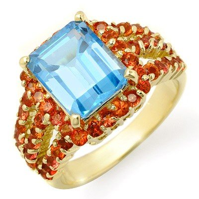 Genuine 7.25 ctw Red Sapphire & Blue Topaz Ring 10K Yel