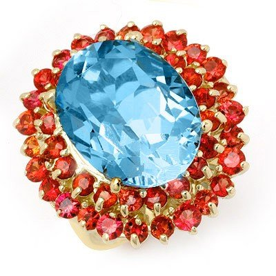Genuine 14.25 ctw Red Sapphire & Blue Topaz Ring 10K Ye
