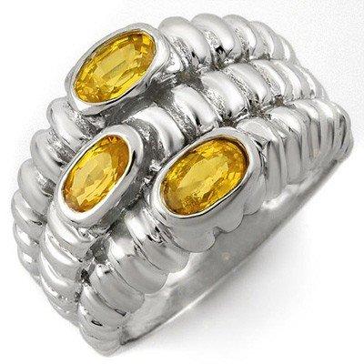 Genuine 1.25 ctw Yellow Sapphire Ring 10K White Gold
