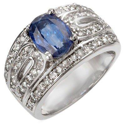 Genuine 3.54 ctw Kunzite & Diamond Ring 14K White Gold