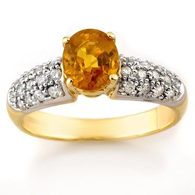 Genuine 2.0 ctw Yellow Sapphire & Diamond Ring 10K Yell