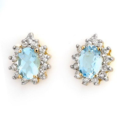 Genuine 3.75 ctw Aquamarine & Diamond Earrings 14K Gold