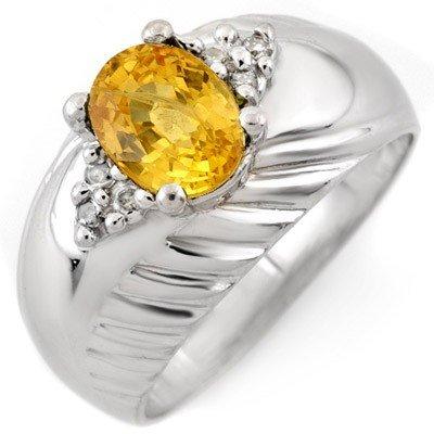 Genuine 1.65 ctw Yellow Sapphire & Diamond Ring 10K Whi