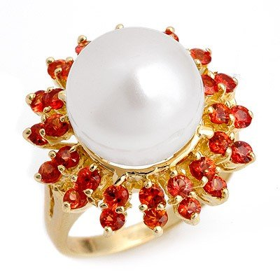 Genuine 1.50 ctw Red Sapphire & Pearl Ring 10K Yellow G