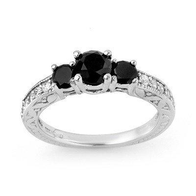Natural 1.40 ctw White & Black Diamond Ring 10K Gold -