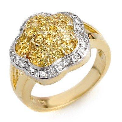Genuine 1.50 ctw Yellow Sapphire & Diamond Ring 14K Whi