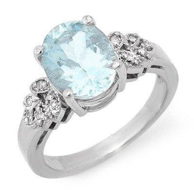 Genuine 2.75 ctw Aquamarine & Diamond Ring 14K Gold - R