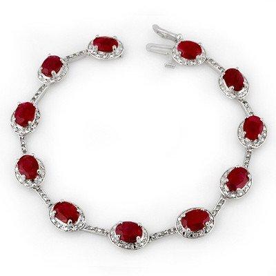 Genuine 12.4 ctw Ruby & Diamond Bracelet White Gold - R