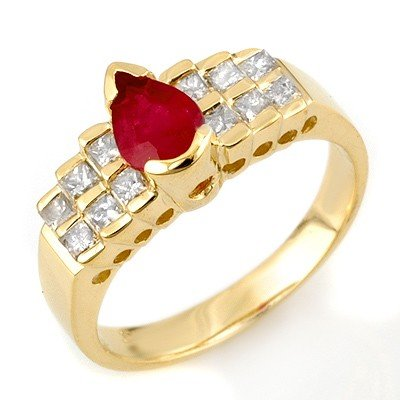 Genuine 1.75 ctw Ruby & Diamond Ring 14K Yellow Gold -