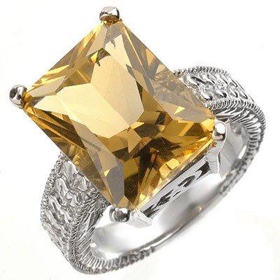 Genuine 8.50 ctw Citrine Ladies Ring 10K White Gold - R