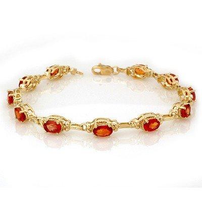 Genuine 8.0 ctw Orange Sapphire Bracelet 10K Yellow Gol