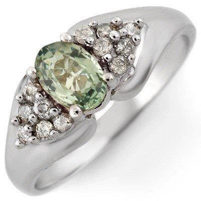 Genuine 0.90ctw Green Sapphire & Diamond Ring 10K Gold