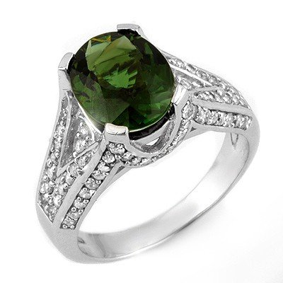 Genuine 4.55ct Green Tourmaline & Diamond Ring 14K Gold