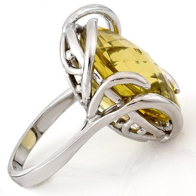Genuine 20 ctw Lemon Topaz Ring 10K White Gold - Retail