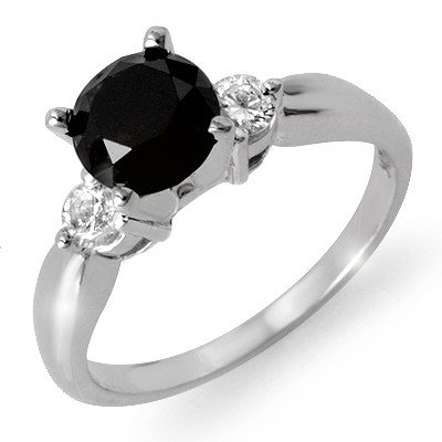 Natural 1.65 ctw White & Black Diamond Ring 14K Gold -