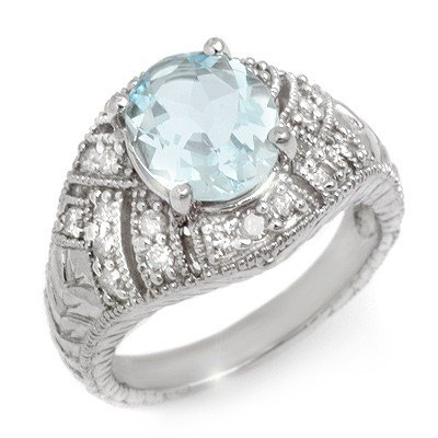 Genuine 3.6 ctw Aquamarine & Diamond Ring 14K Gold - Re