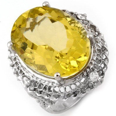 Genuine 16.15 ctw Lemon Topaz & Diamond Ring 10K Gold -