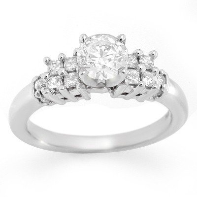Natural 1.20 ctw Diamond Solitaire Ring 14K White Gold