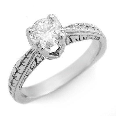 Natural 0.55 ctw Diamond Ring 14K White Gold - Retails