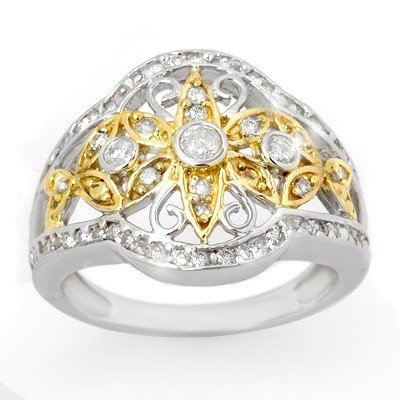 Natural 0.70 ctw Diamond Ring 10K Multi tone Gold - Ret