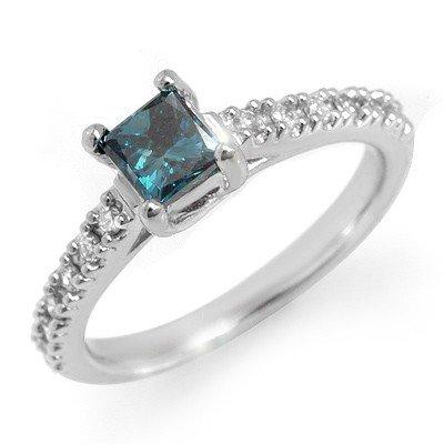 Natural 0.75 ctw White & Blue Diamond Ring 14K Gold - R
