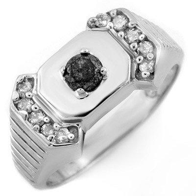 Natural 0.58 ctw Diamond Men's Ring 10K White Gold - Re