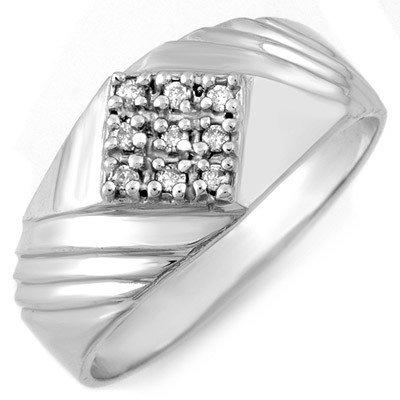 Natural 0.15 ctw Diamond Men's Ring 10K White Gold - Re
