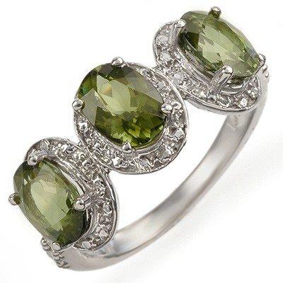 Genuine 3.08 ctw Green Tourmaline & Diamond Ring Gold -