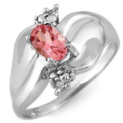Genuine 0.54 ctw Pink Tourmaline & Diamond Ring Gold -