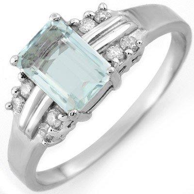 Genuine 1.41 ctw Aquamarine & Diamond Ring 10K Gold - R