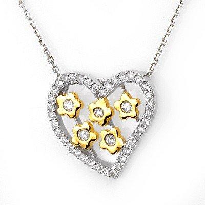 Natural 0.45 ctw Diamond Necklace 10K Multi tone Gold -