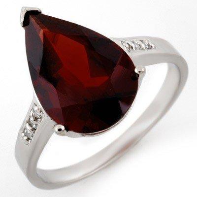 Genuine 5.1 ctw Garnet & Diamond Ring 10K White Gold -