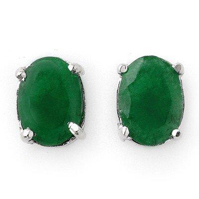 Genuine 2.0 ctw Emerald Stud Earrings 14K White Gold -