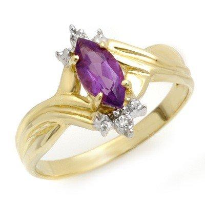 Genuine 0.52ctw Amethyst & Diamond Ring 10K Yellow Gold