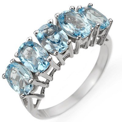 Genuine 3.0 ctw Blue Topaz Ring 10K White Gold - Retail