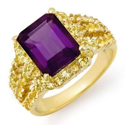 Genuine 5.5 ctw Yellow Sapphire & Amethyst Ring 10K Yel