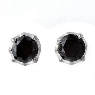 Natural 2.50 ctw Black Diamond Stud Earrings 14K Gold -